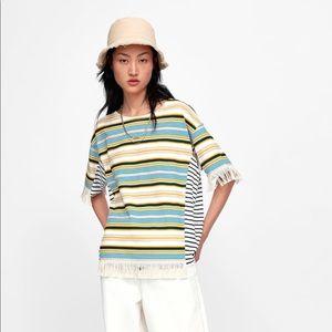 NWT'S Zara Striped Shirt With Fringe Size Small S